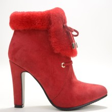Red Winter Faux Fur Heels Boots For Women Closed Pointed Toe Ankle Length High Boots Red Ankle Boots For Women Size 12