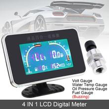 12V24V Universal 4 In 1 LCD Digital Volt Gauge + Water Temp Oil Pressure Fuel with Sensor for Car Truck