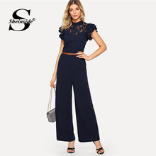 Sheinside Navy Contrast Lace Elegant Jumpsuit Office Ladies Ruffle Sleeve Belted Solid Women Wide Leg Jumpsuit
