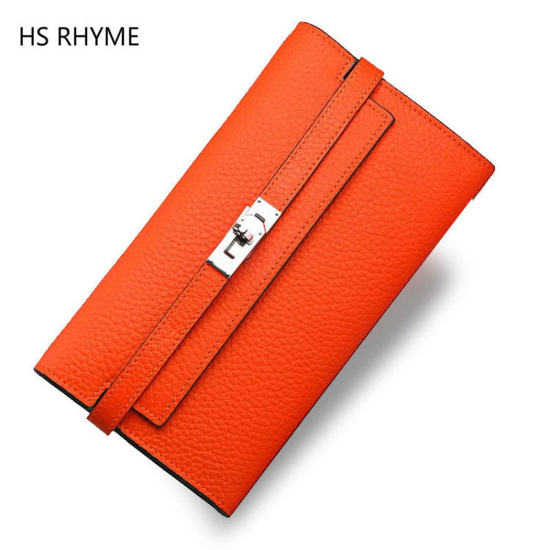HS RHYME 2017 New Women Wallets Genuine Leather High Quality Long Design Clutch Cowhide Wallet High Quality Fashion Female Purse star wars purse high quality leather