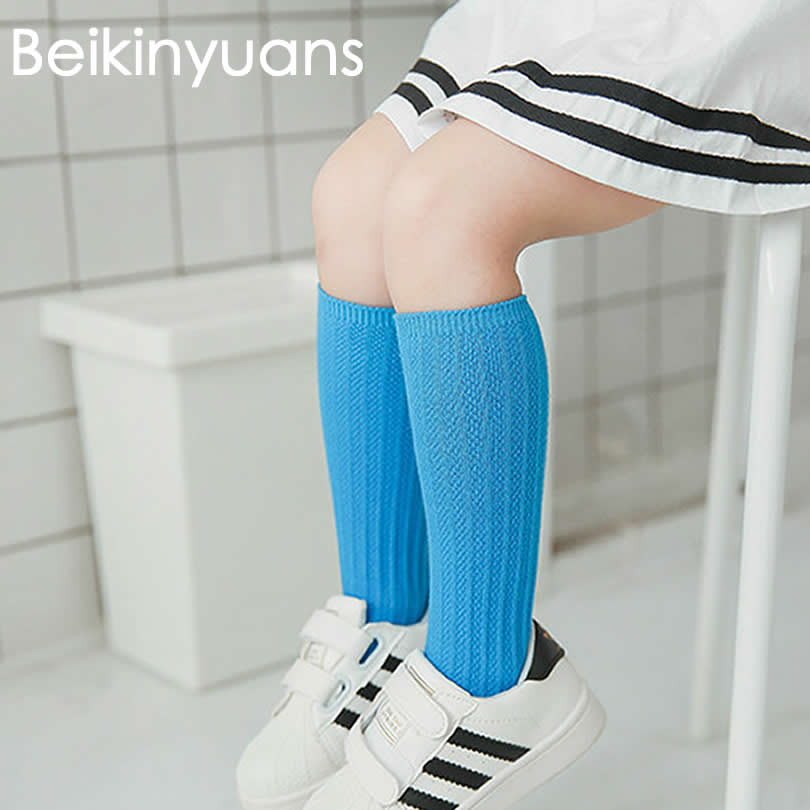 Kids Knee High Socks Sneeker infantil Girls/Boys Cotton South Korea new Solid Color Double Needle Tube socks Knee Sock Girls