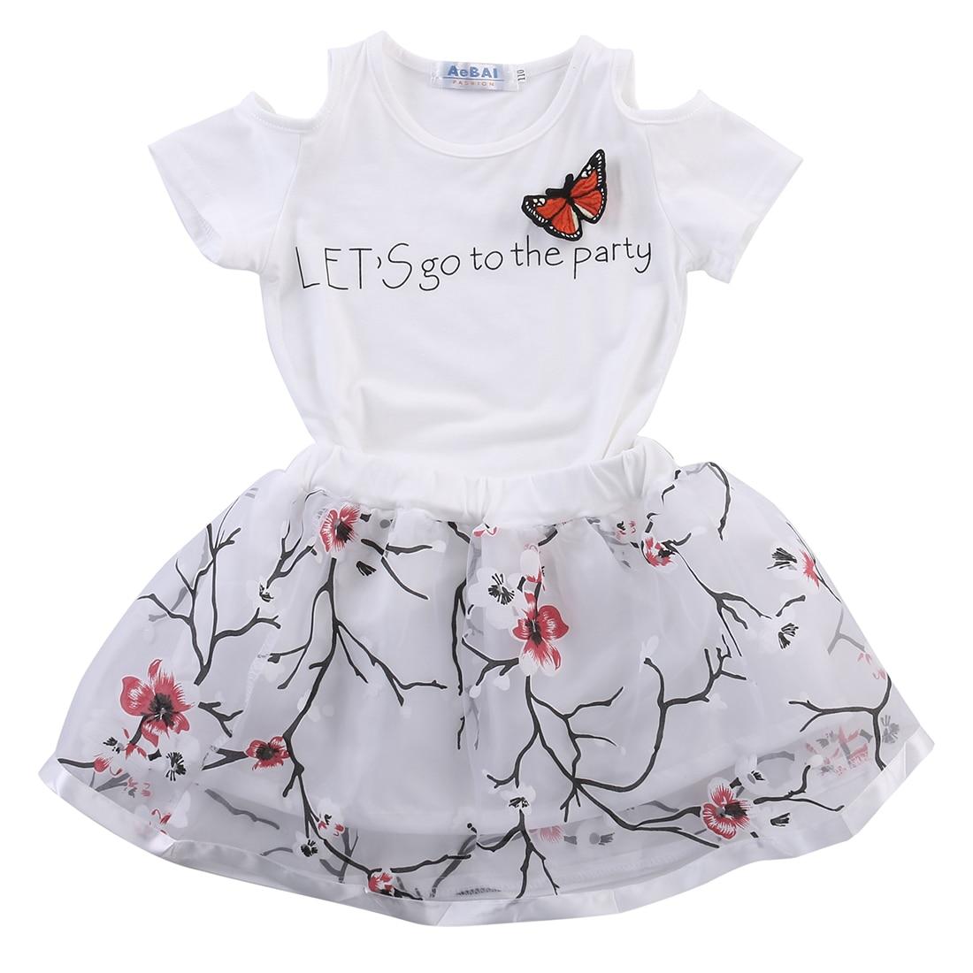 2PCS Toddler Infant Kids Child Baby Girls T Shirt Tops Flower Tutu Skirt Outfits Clothes Cute Set
