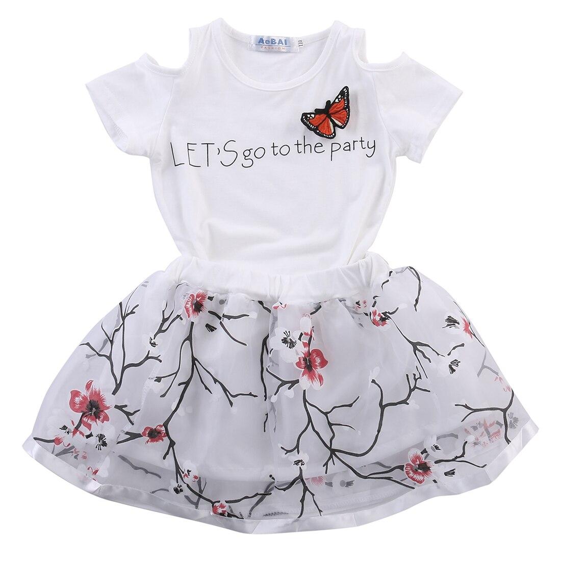 2 StÜcke Kleinkind Kleinkind Kinder Kind Baby Mädchen T-shirt Tops Blume Tutu Rock Outfits Kleidung Nette Set