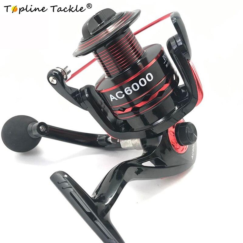 Topline Tackle Fishing Spinning Reel Aluminum Body Spinning Reel 5.5:1 Speed Ratio Left/Right Hand Fishing Wheel Boat Jigging