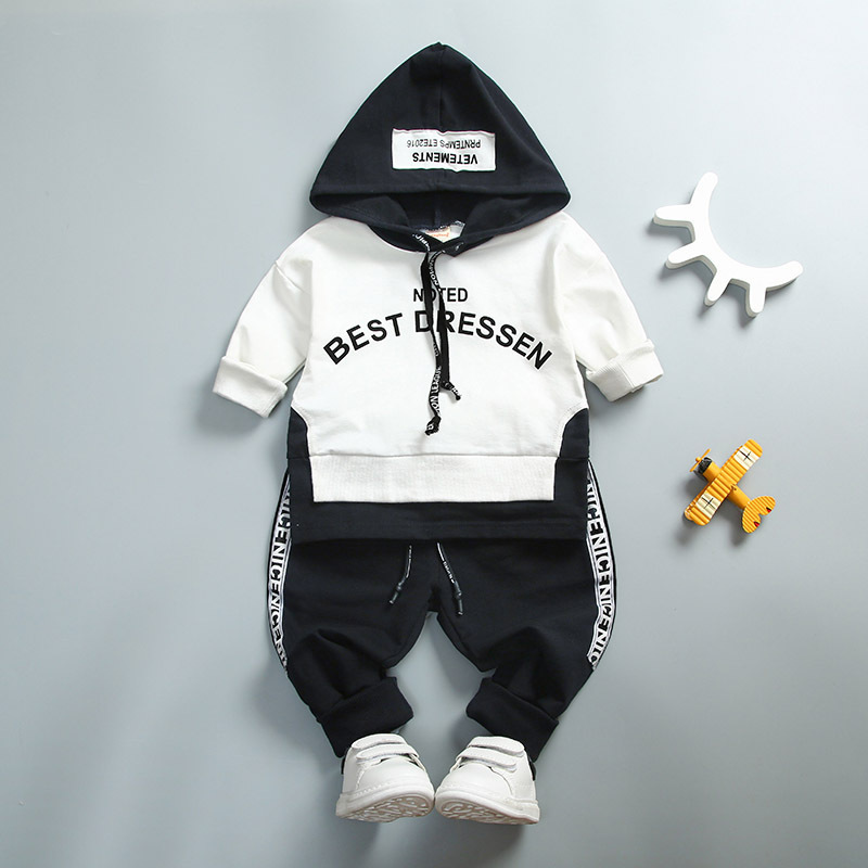 2018 Spring Autumn Cotton Clothes Sets Baby Girls Boys Sports Hooded T Shirt Sweatshirt  Pants 2pcs Children Kids Casual Suits