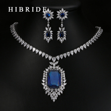 HIBRIDE Luxury White Gold-Color Dark Blue AAA Cubic Zirconia Fashion Women Jewelry Sets N-58