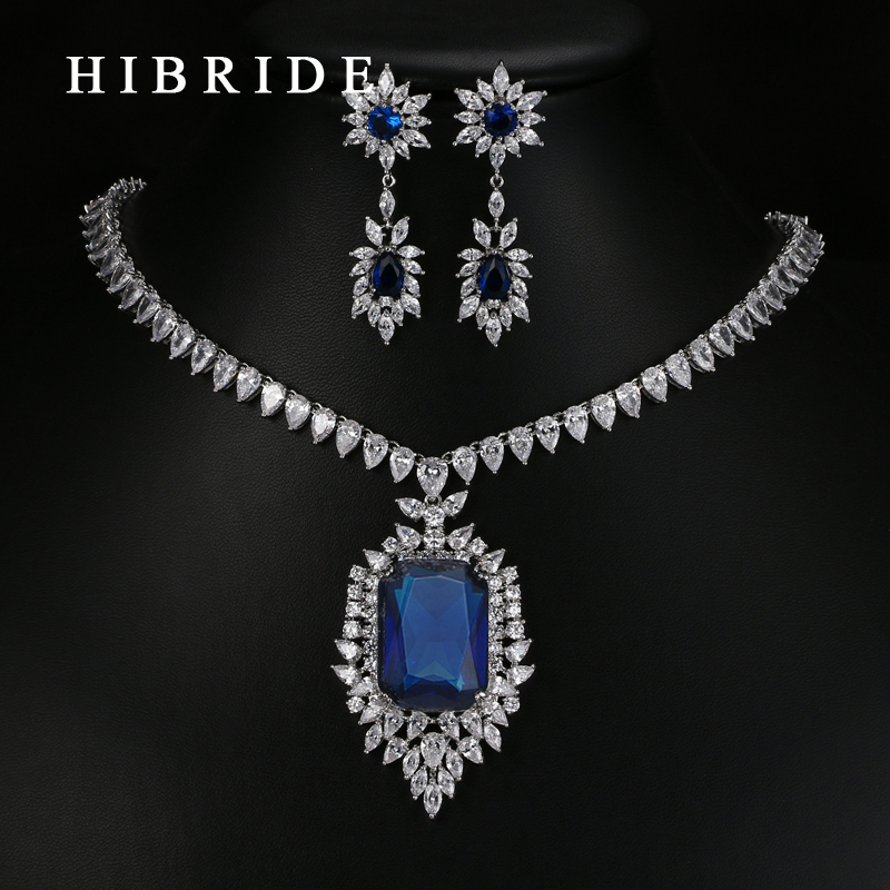 HIBRIDE Luxury White Gold-Color Dark Blue AAA Cubic Zirconia Fashion Women Jewelry Sets N-58 hibride luxury top quality white green water drop shape cubic zirconia jewelry sets white gold color necklace earrings n 057