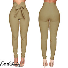 Fashion Women High Waist Casual Pants Ladies Bowknot Long Slim Skinny Bandage Elastic Pencil Trousers With Sashes