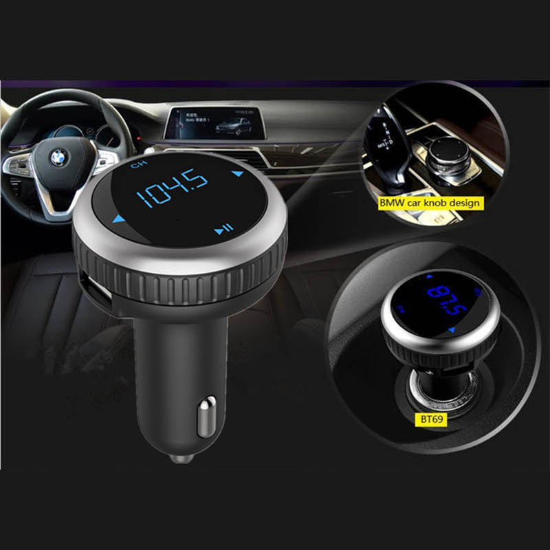 Vehicle MP3 Auto FM Transmitter Music Player Bluetooth Aux Car Kit with Dual USB Charger ABS