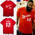 James harden jersey basketbal 2017 verano moda de algodón rojo camiseta cohete #13 print t shirt hombres camisetas hombre, tx2422