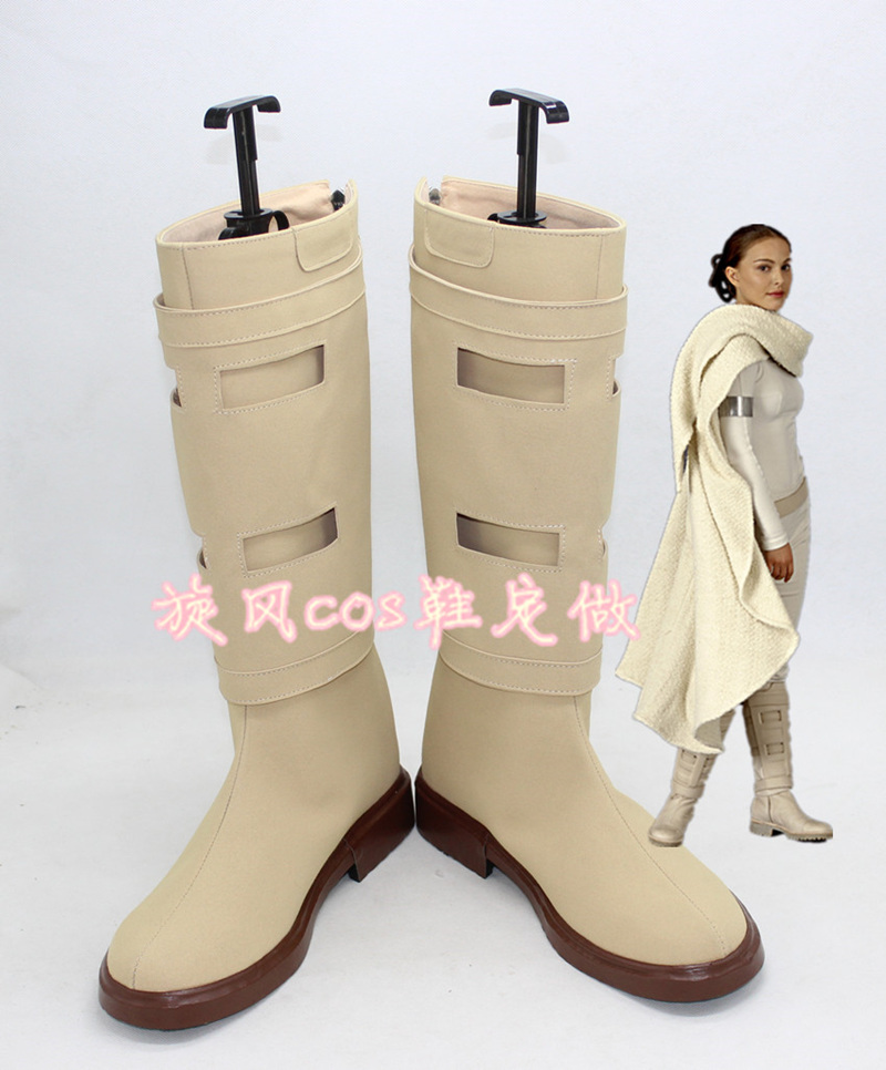1:1 Star Wars Queen Amidala  Cosplay Shoes Padme Naberrie Amidala white boots role play PNA cosplay costumes large size
