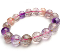Free shipping 435 13mm Natural Super Seven 7 Hair Rutile Beads Quartz Melody Stone Bracelet AAAA