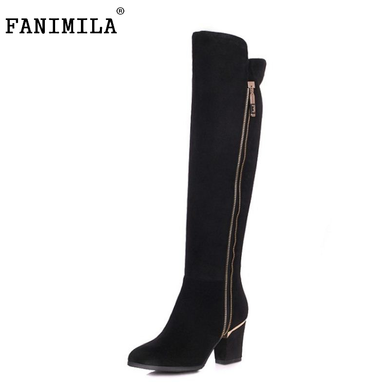 ФОТО Women Natural Real Leather Knee Boots Winter Boots Sexy Square Heel Fashion Pointed Toe Zipper Women Boots Bota Shoes Size 34-39
