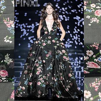 Nueva tela de encaje francés para coser Organza 100% tela de seda tejida Material para cortinas tul estampado flores blusa vestido textil