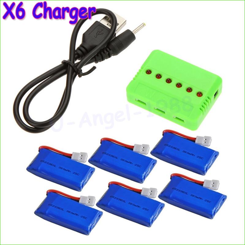 Partihandel X6 Laddare med 6st 3.7V 240mAh 350mAh 380mAh 500mAh 600mah 650mah Lipo Batteri för Hubsan X4 H107 H107L H107C H107D
