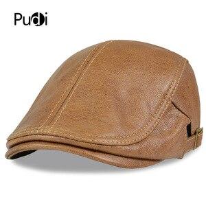 Image 1 - HL046  Men Genuine Leather Newsboy Hat Cap Gatsby Flat Golf Cabbie Baker Beret Retro brand new mens baseball cap