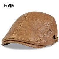 HL046 Men Genuine Leather Newsboy Hat Cap Gatsby Flat Golf Cabbie Baker Beret Retro brand new men's baseball cap