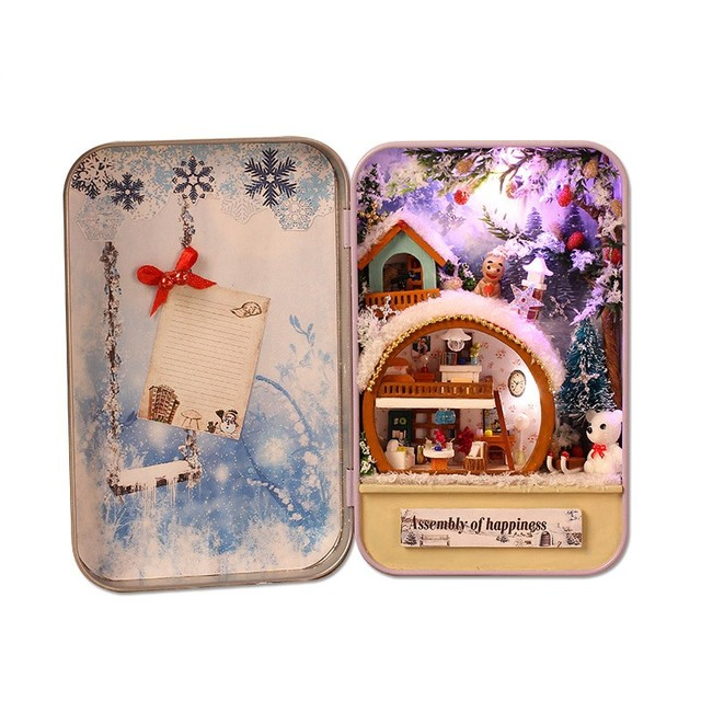 Hot Doll House Diy miniature 3D Wooden Puzzle Dollhouse miniaturas Furniture House Doll For Birthday Gift Toys -Snow Holiday
