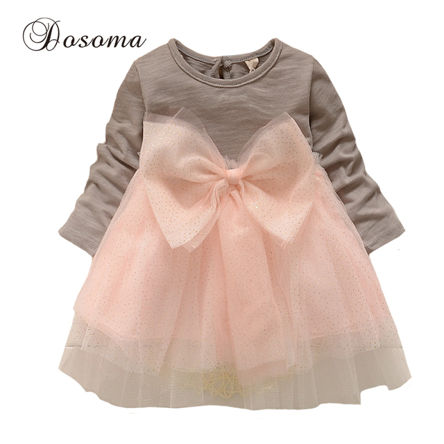 Newborn 2016 Spring Baby Girl Clothes Long Sleeve Bow Cute Princess 1 Year Birthday Dress Fashion Tutu Party Dress Girl Clothing