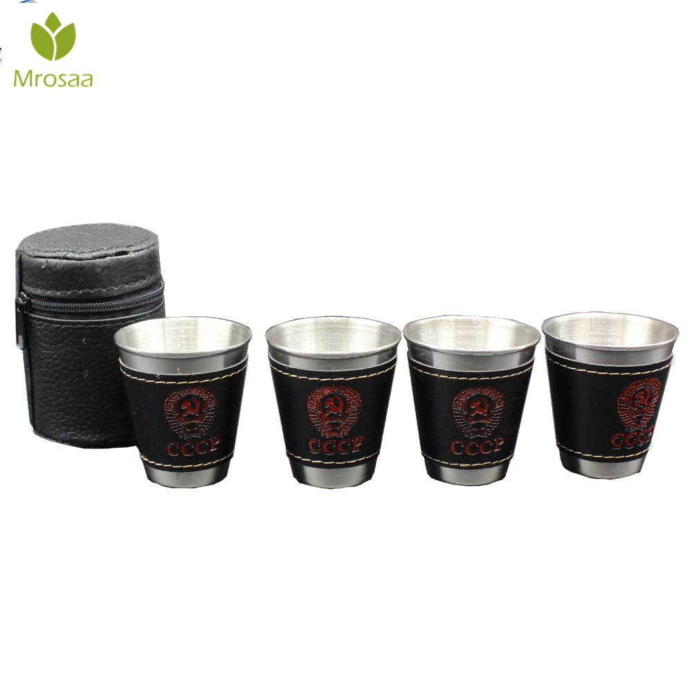 Mrosaa 70ml Stainless Steel Wine Cups Four Small Glasses And Cup Sets Of Business Gifts Artifact