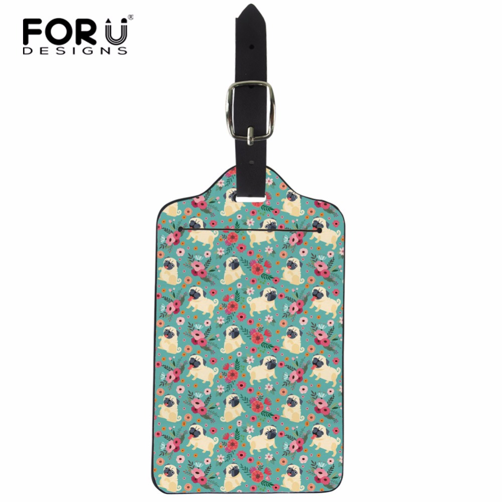 FORUDESIGNS Pug Dog Luggage Tag Portable PU Husky Flowers Printed Suitcase Baggage Boarding Tag Address Label Name Travel Tag