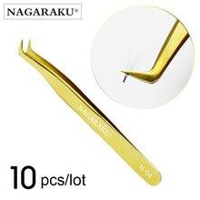 NAGARAKU 10 PCS stainless Russian eyelash extension tweezers eyelash tweezers pincet false eyelash tweezers 3D lash tweeze