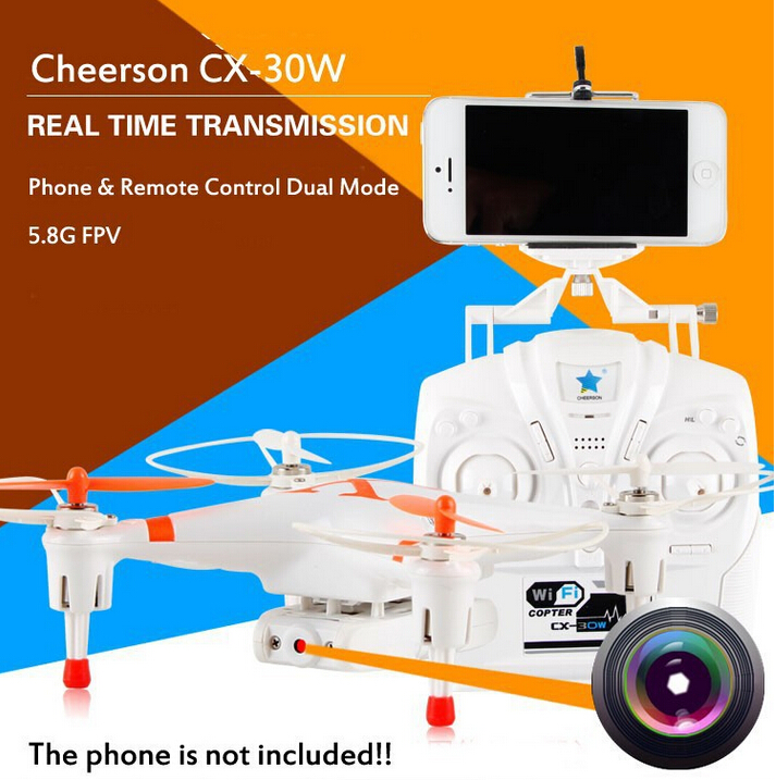 Cheerson CX-30W 2.4GHz 4CH 6-Axis Gyro WiFi Real Time Video RC FPV Quadcopter Drone with 0.3MP HD Camera VS X5SW MJX X400 X600 cheerson cx 91 cx 91a jumper uav with 2mp camera remote control drone brushless motors fpv real time video high speed rc toys