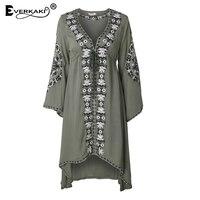Everkaki Women Boho Dress Embroidery Long Sleeve Dresses High Waist V Neck Casual Dress Vestido Short