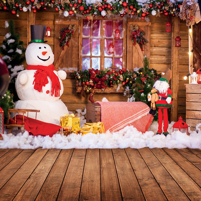 80*125cm 3D Christmas Photo Studio Background Decor Photography Photographic Backdrop Props Board Santa Claus style