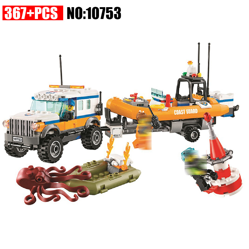 10753 City Coast Guard 4 x 4 Response Unit building blocks DIY Educational bricks toys gift for children Compatible 60165 lepin 02012 city deepwater exploration vessel 60095 building blocks policeman toys children compatible with lego gift kid sets