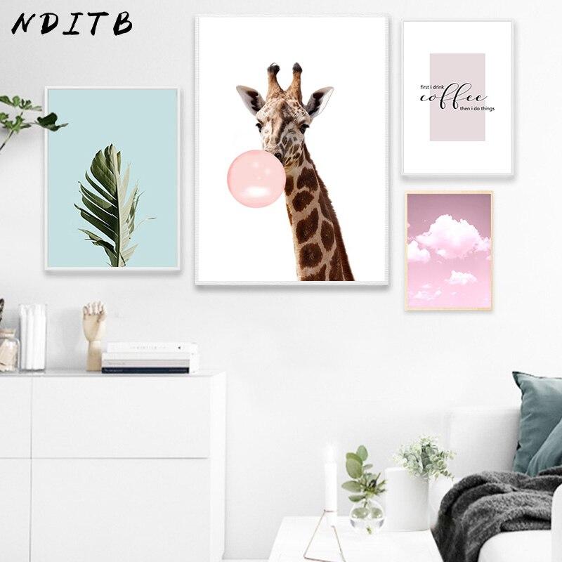 Nditb girafa folha quadros da arte lona cartazes estilo nórdico paisagem minimalista pintura moderna parede imagem para sala de estar