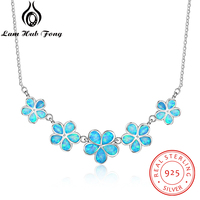 925 Sterling Silver Jewelry Female Chains Necklaces Pendants for Women Decorating Blue Opal Flower Valentine's Day Gifts