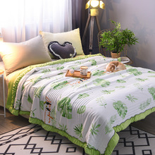2018 Green leaf throw quilts Washed cotton summer quilts Patchwork comfortable bed cover European style Daisy summer bedding 1pc