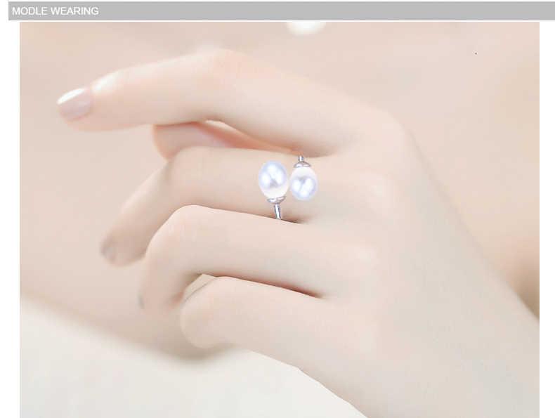 Zhboruini Mỹ Trang Sức Ngọc Trai Nhẫn Đôi Phải Đối Mặt Với Nhẫn Tự Nhiên Ngọc Trai Nước Ngọt Mặt Dây Chuyền Trang Sức Bạc 925 Nữ Tặng