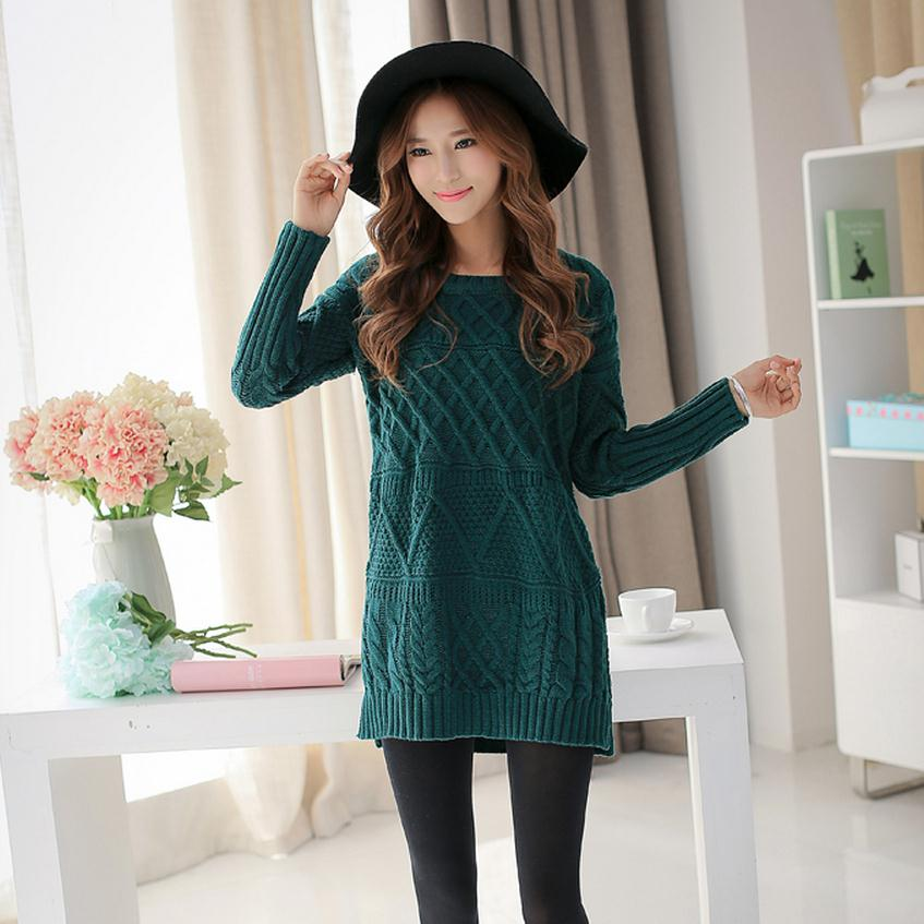 Autumn and winter thickening warm fashion brand Gouge pullover sweater Korean loose coarse wool knit dress w1778 free shipping