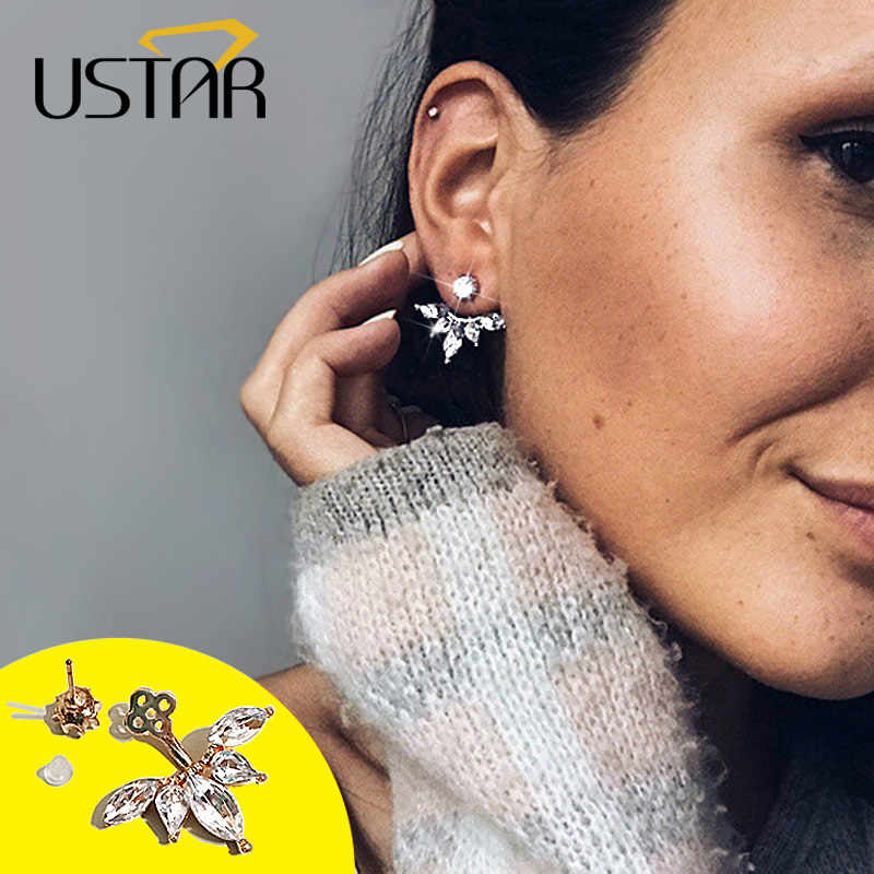 USTAR Leaf Crystals Stud Earrings for Women Silver color Double Sided Fashion Jewelry Earrings female Oorbellen hanging kolczyki