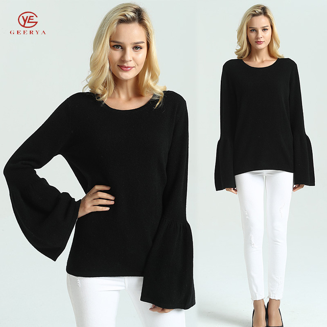 Geerya Worsted Cashmere Sweater Women Oversize Pullovers Long Sleeve Knitted Sweter Shirt For Female Basic Tops Winter Fashion