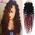 Omber Peruvian Virgin Hair Kinky Curly with Closure Ms Lula Hair with Closure and Bundles Tone Tone Human Hair Burgundy 1b 99J
