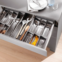 304 stainless steel cutlery box storage tray Kitchen cabinet pull basket Damping drawer storage drawer cabinet partition