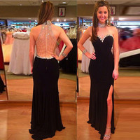 Sexy Crystals Black Chiffon Prom Gown Beading High Neck Front Split Floor Length Dresses for Wedding Party