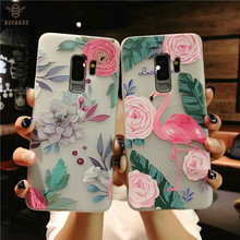 цена на Case For samsung Galaxy s8 s8 Plus Case For samsung s9 s9 Plus case For Galaxy Note 9 capa relief Flamingo silicone Cases Cover