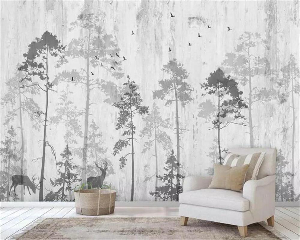 beibehang Custom photo wallpaper mural hand-painted Southeast Asia woods elk TV background wall papel de parede 3d wallpaper