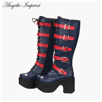 Women Punk Lolita Cosplay Buckle Straps Thick Platform High Heel Boots with Stars