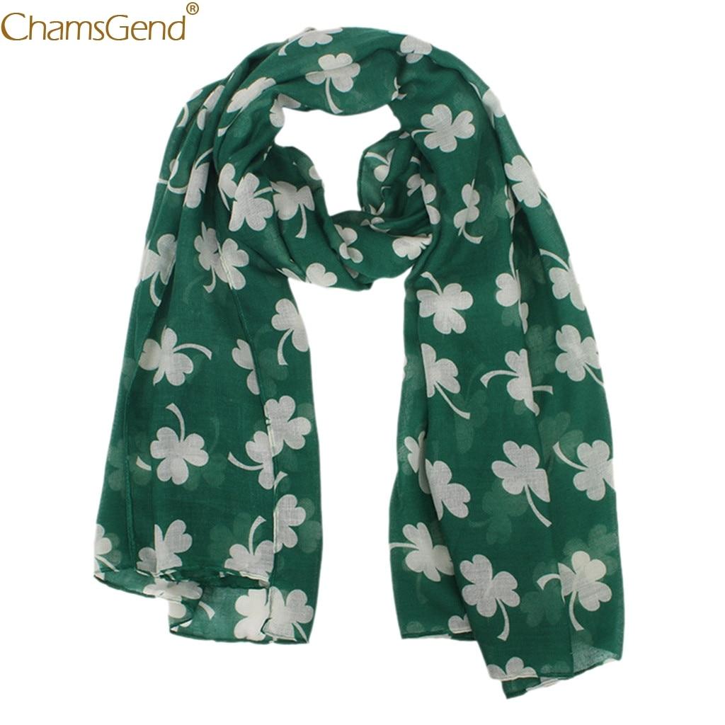 Женский шарф Зеленый ирландский женский шарф четырехлистный клевер Шаль Обертывание шарфы зима Женская мода Длинный мягкий шарф Dec17