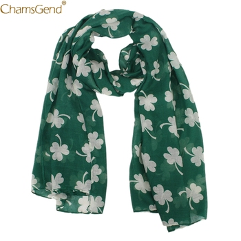 Women Scarf Green Irish Women Scarf Four-leaf Clover Shawl Wrap Scarves   Winter Women's Fashion Long Soft Wrap Scarf Dec17