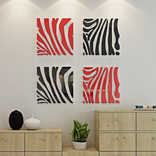 nieuwe collectie zebra acryl crystal 3d muurstickers creatieve moderne kunst muurstickers living roon slaapkamer decoratie