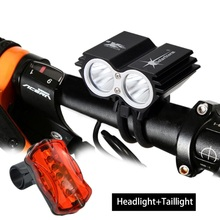 Free shipping 5000 Lumens 2x CREE XM-L U2 LED Cycling Bike Bicycle Light  HeadLight+6400mAh Battery+ Rear light