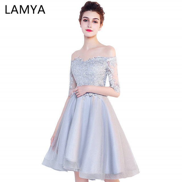 Lamya Customizable Short Lace Sleeve With Boat Neck Prom Dresses