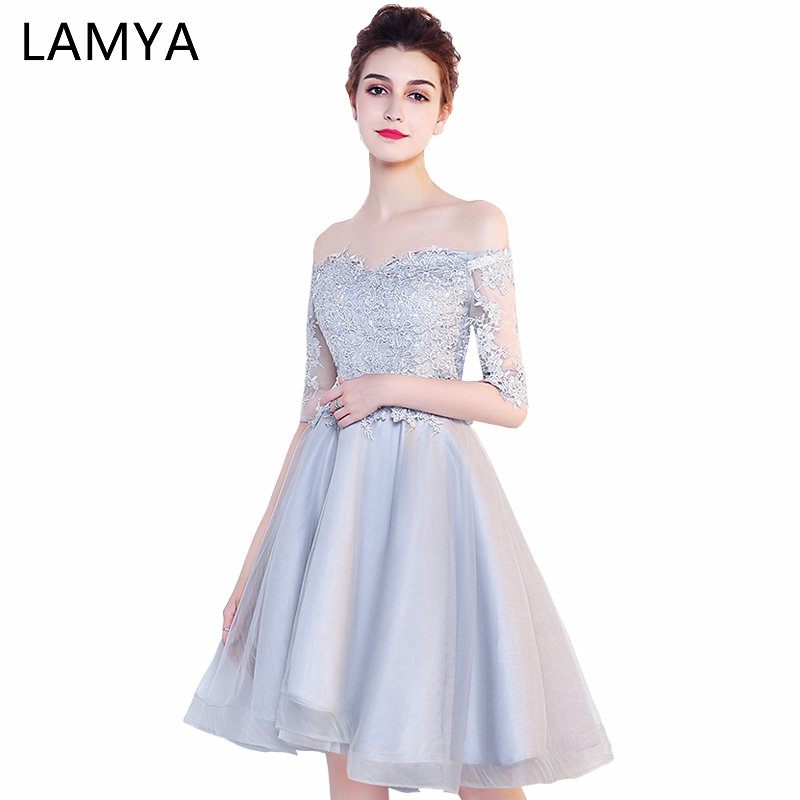 LAMYA Customizable Short Lace Sleeve With Boat Neck   Prom     Dresses   Cheap A Line Wedding Party   Dress   Special Occasion Gowns