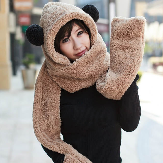 4cbd96309 Womens panda hat fur hood scarf Mens Hat Ear Flaps Hand Pockets Hat Panda  Plush Winter Warm Cap with Long Scarf Mittens Gloves